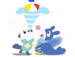 Oshawott and Popplio by sp19047