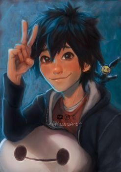 Hiro Hamada and Baymax - Big hero 6 by DeerAzeen