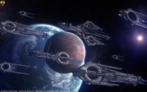 Quarian fleet before the Morning War by Euderion
