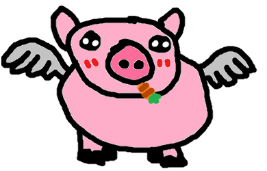 When Pigs Fly Holding Carrots by LaLaLandPossy