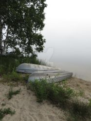 Foggy Morning Lake Boat by PetoriusRex