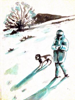 Wife and dog in snow  by Sid9215