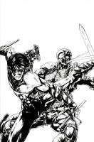 Nightwing vs Deathstroke by kelbykross