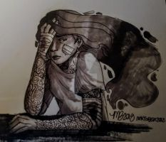 InkTober 2018 - Day 7 (Exhausted) by InstantDoodles13