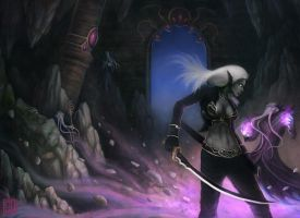 Drow vs Mind Flayer Book Cover by gtneoart