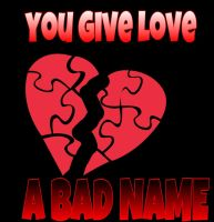 Bon Jovi Cd cover (You Give love, A BAD NAME) by MOTLEYLOMBAXCRUE666