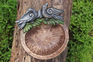 Huginn and Muninn - Handmade Wooden Ritual Bowl by Ljotunnr