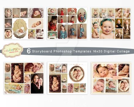 Collage Template - 6 Storyboard Photoshop Template by constantine80