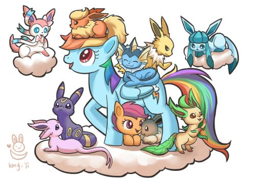 Rainbow Dash and  Scootaloo with Eevee family by kongyi