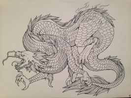 Before Watercolor, Chinese Dragon by TheHeadlessPheasant