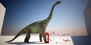 Brachiosaurus and phone booth by janvanepen