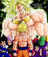 Broly vs Z-Team colored by BK-81