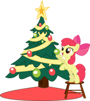 Apple Bloom decorates the Hearth's Warming Tree by seahawk270