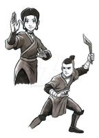 Sokka and Katara by kenjiono