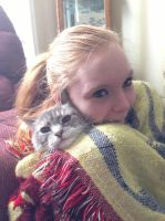 my friend and her cat dixie! by iluvgrey