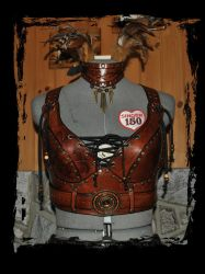 leather armor bra front view by Lagueuse