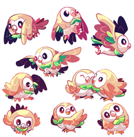 20 Rowlets commission (2/2) by MarlonLeal
