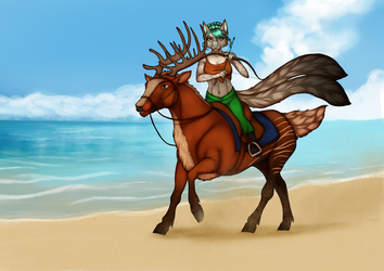 [ YCH AUCTION FINISHED ] Seaside archeress by Marchef-Iustinianie