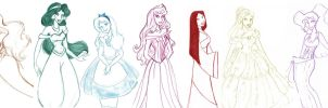 Disney Princesses-sketch by Ellie177