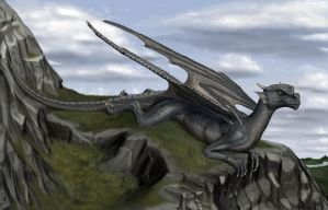 Dragon on a cliff by Hoch-Spannung