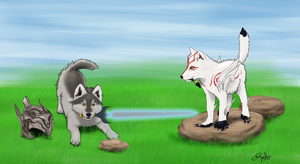 Wolf Pals - Sif and Amaterasu by Goldencloud