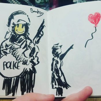 Banksy drawings by Ellbellks