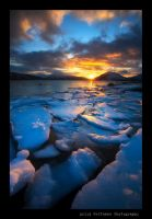 Golden sunset and Ice by uberfischer