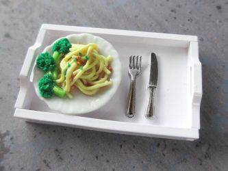 Pasta and Broccoli Dollhouse Miniature by Shiritsu