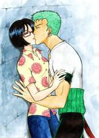 Zoro x Tashigi kissing by Alkanet