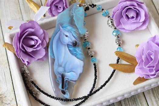 Thunder horse - hand painted pendant by LunarFerns