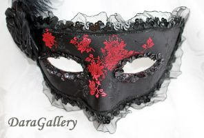 Red Rose Brocade Black Masquerade Mask by DaraGallery