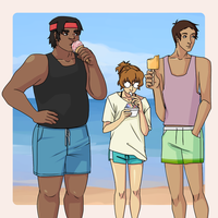 beach goers by mLahulia