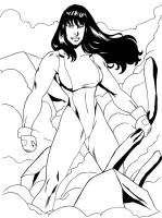She-Hulk: After A Battle - Lineart by OrionPax09