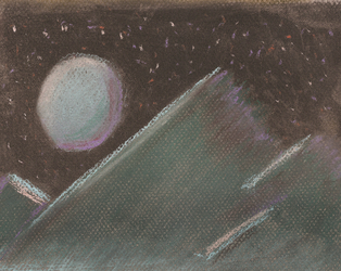 Chalk Pastel, Mountain Night Scene by shaybee