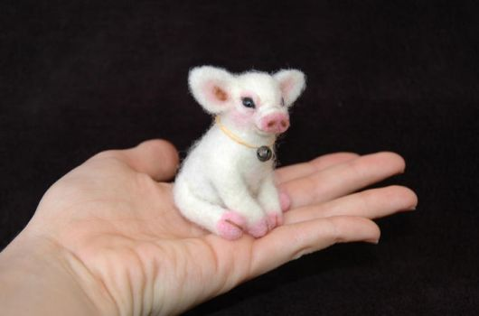 New Baby Piglet. Miniature, Hand Needle Felted. by amber-rose-creations