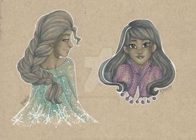 Anna and Elsa by chelleface90
