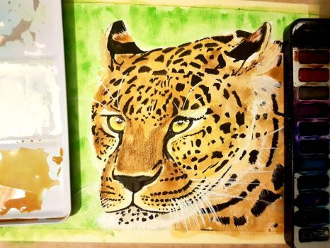 leopard watercolour by yorkshirepudding1990
