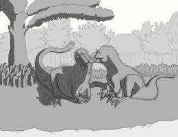 Yutyrannus Pair - Grayscale by dracontes