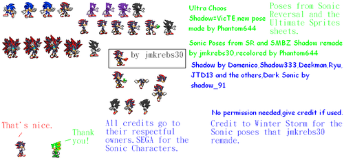 Other Sonic and Shadow custom poses by Phantom644