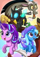 Starlight Trixie Discord and Thorax by mysticalpha