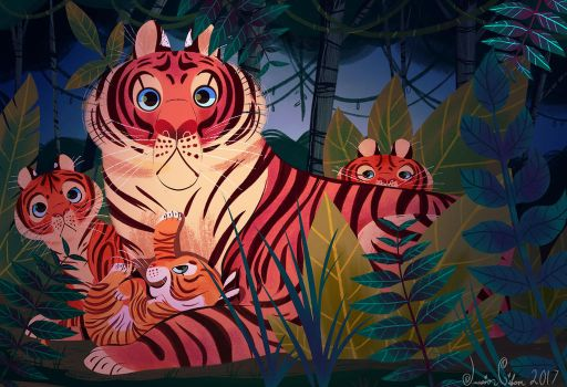 Mama Tigress and her Cubs by JessieDrawz