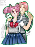 Commission Traditional Chibiusa and her Bro by kuroitenshi13