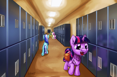 High school unicorn by Shaliwolf