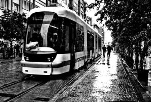 Tram in the rain by pigarot