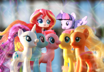 The Mane 7 on a Patio Near the Beach Together by AquilaTEagle