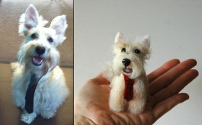 Needle felted Scottish terrier mix portrait by amber-rose-creations