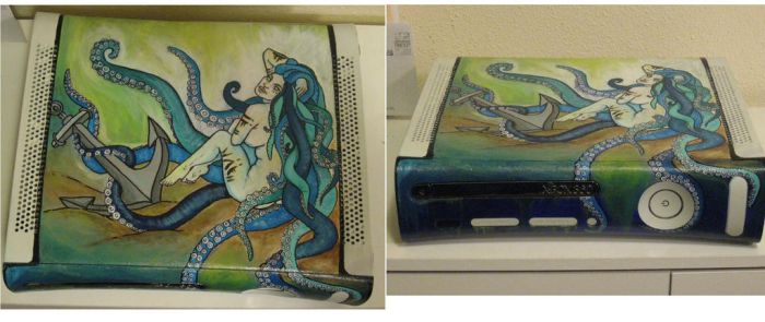 Custom X-box 360 case painting by Raskha