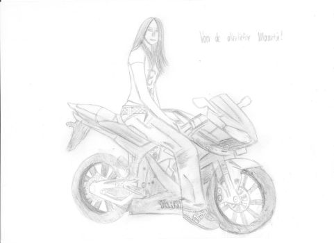 Sketch of Maartje on a bike by AsilaydyingJohnyyy