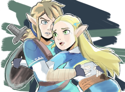 Link and Zelda Breath of the Wild by AlSanya