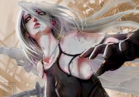 A2 from Nier: Automata by kumagzter